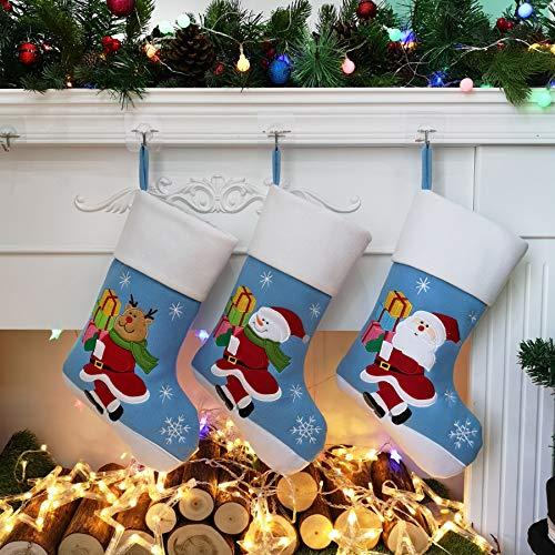 Houwsbaby 3 Pcs Christmas Stockings Set Cotton Holders with Santa Reindeer and Reindeer Plush Socks Kit Ornament Holiday Party Decoration Gift Bags for Family, Blue, 18''