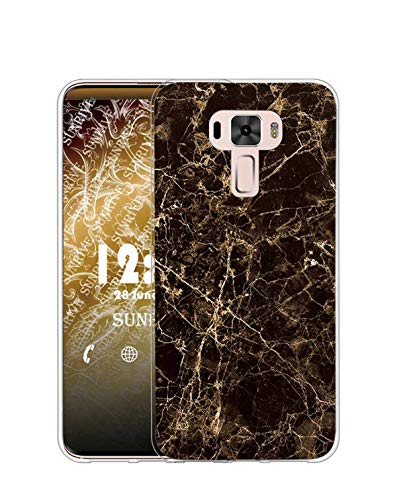 Sunrive Kompatibel mit Asus Zenfone 3 ZE520KL Hülle Silikon, Transparent Handyhülle Schutzhülle Etui Hülle (TPU Marmor Schwarzer)+Gratis Universal Eingabestift MEHRWEG