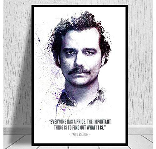 QINGRENJIE Poster druckt Hotpainting Pablo Escobar Charakter Legende Retro Vintage Poster und druckt Wandkunst Leinwand Wandbilder für Wohnzimmer Home Decor 50X70 cm ohne Rahmen