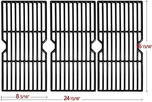 "Hongso 16 15/16"" Porcelain Coated Cast Iron Grill Grates Cooking Grid Replacement for Charbroil Advantage 463343015, 463344015, 463344116, Kenmore, Broil King Gas Grill, G467-0002-W1, 3-Pack, (PCF123)"