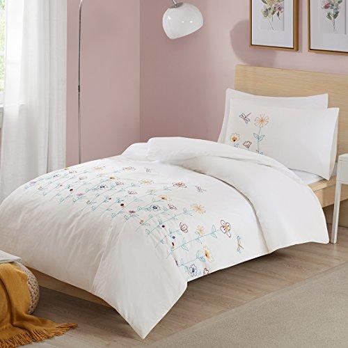 SCM Bettwäsche 135x200cm Weiß 100{2f07d682f61868feeff8fb8cd663b6092d8ac7b6003d25a20fb0b4d7f17010ba} Baumwolle mit bunten Blumen Stickerei 2-teilig Bettbezug & Kissenbezug 50x75cm Ideal für Schlafzimmer Louisa