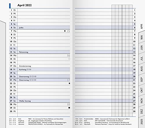 BRUNNEN 1075300002 Taschenkalender/Monats-Sichtkalender Modell 753 Ersatzkalendarium, 2 Seiten = 1 Monat, 8,7 x 15,3 cm, Kalendarium 2022