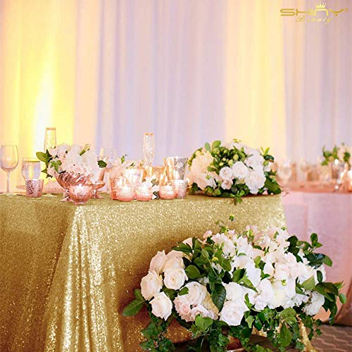 Sequin Tablecloth Table Linen Table Cover Table Overlays for Wedding Party Decor Backdrops ~1122S (54x54-Inch, Gold)