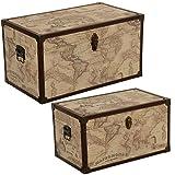 DONREGALOWEB Set de 2 baúles de Madera y Polipiel con el mapamundi y herrajes metálico 65x38x35 y 55x32x30cm