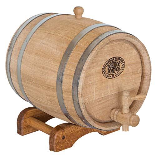 Eichenfass für Wein auf einem Untergestell, 10L, mit Reifen aus Edelstahl