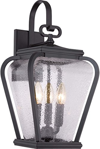 Quoizel PRV8409K Province Outdoor Wall Sconce Lighting, 3-Light, 180 Watts, Mystic Black (19