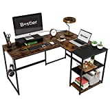 Bestier L Shaped Desk 60 x 48 Inch Corner Computer Desk with Storage Shelves, Home Office Desk with Wooden Monitor Stand, Rustic Brown and Black Top