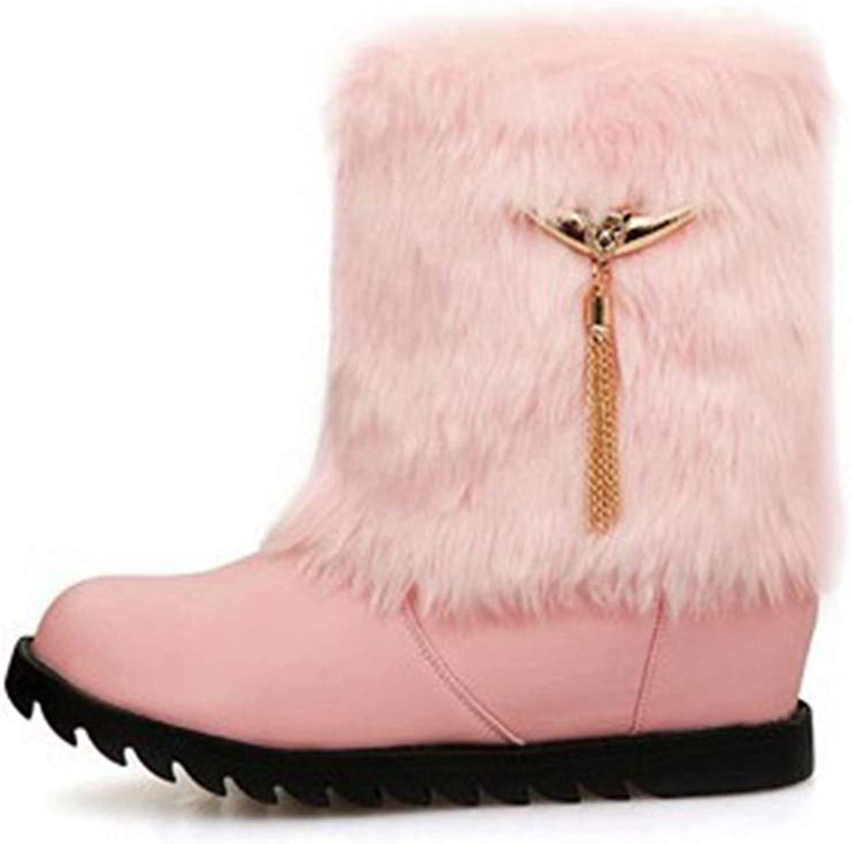 GIY Women's Winter Warm Fur Snow Ankle Boots Waterproof Platform Slip On Fringed Wedge Snow Short Booties