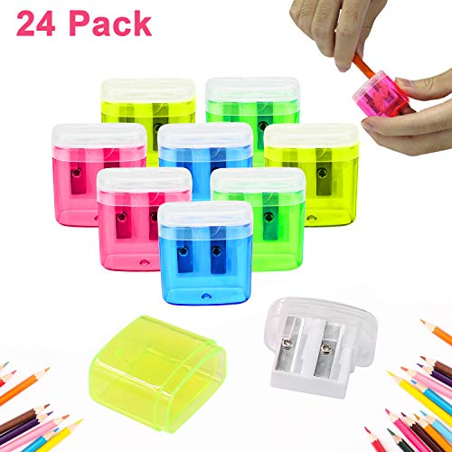 ForTomorrow Dual Hole Pencil Sharpener Manual Pencil Sharpeners with Lid for School Home Office Using,24 Pack Assorted Bulk Hand Held Pencil Sharpener (24 Assorted Packs with Lid)