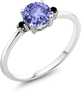 10K White Gold Engagement Solitaire Ring set with 0.93 Ct Round Blue Tanzanite and Black Diamonds
