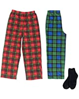 Mad Dog Boy's 2-Pack Pajama Pants + Slipper Socks (Green Plaid/Red Plaid, M (6/8))
