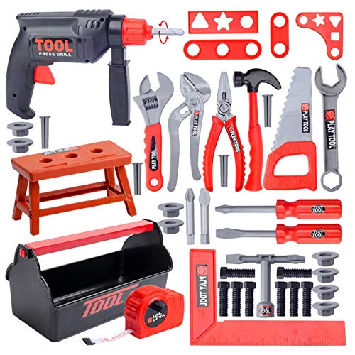 POHOVE Kids Tool Set, Pretend Play Construction Toddler Tool Toy with Tool Box, 31/44 pcs Electric Kids Drill Tool Toys Set for 3 4 5 6 7 8 Years Old Kids