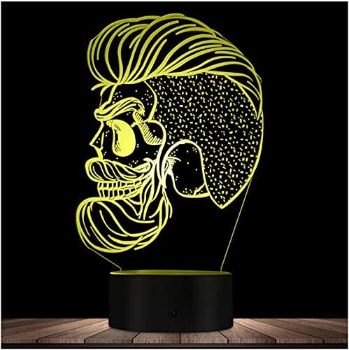Hispter Skull Night Lamp Barber Shop Beard Skull 3D Ilusión óptica Led Nights Mancave Iluminación personalizada Lámpara de decoración Regalo