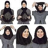 Cotton and Shiffon headscarf, instant hijab, ready to wear, Black, Size one