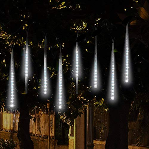 SurLight LED Falling Rain Lights with 30cm 8 Tube 144 LEDs, Meteor Shower Light, Falling Rain Drop Christmas Lights, Icicle String Lights for Holiday Party Wedding Christmas Tree Decoration (White)