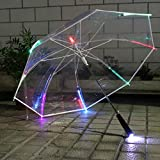 Joyibay Parapluie Clair Mode Parapluie à LED Bâton Parapluie Parapluie Pluie Parapluie Transparent