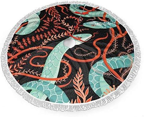 Snake en bloem afgedrukt kerstboom rokboom mat met kwastje kerstboom ornament kerst decoratie accessoire