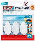 tesa TE57533-00017-02 pequeños Ovalados Blancos, 3 Ganchos + 4 Tiras, Standard