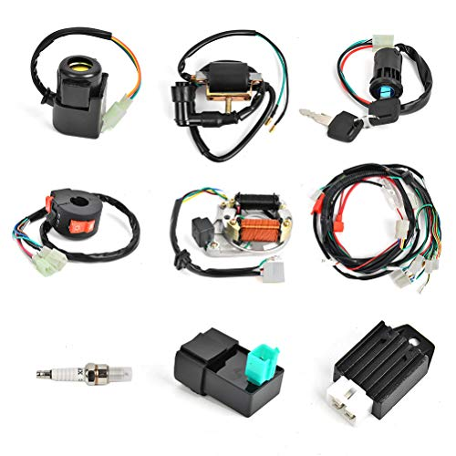 Complete Electrics Stator Coil CDI Wiring Harness Kit for 4 Stroke ATV 50cc 70cc 110cc 125cc Pit Quad Dirt Bike Go Kart Scooter Moped Parts Complete Wiring Harness Kit