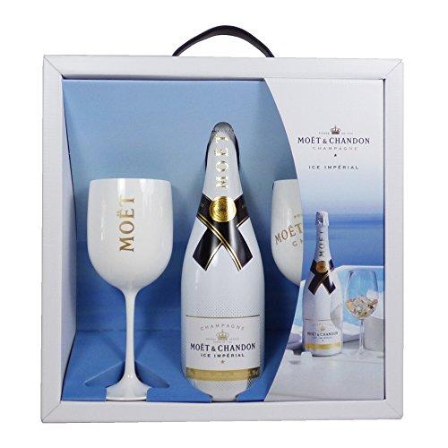 Moet et Chandon Set di regali di condivisione imperiale con 2 bicchieri - idee regalo per compleanni, matrimoni, anniversari e corporate