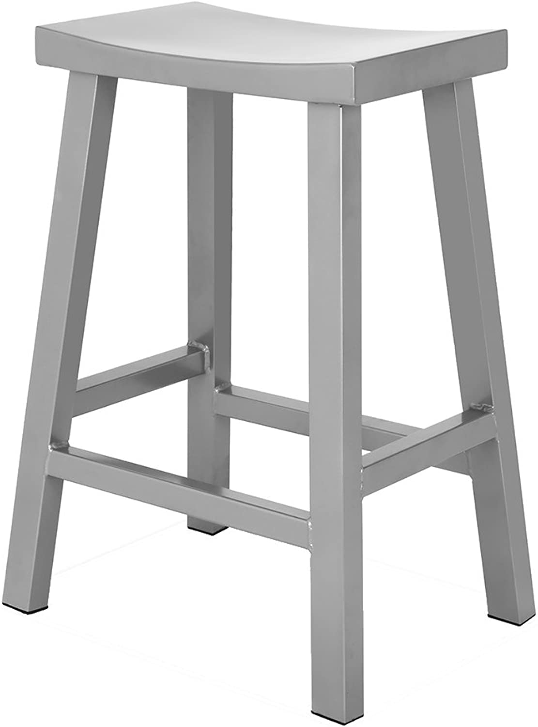 Renovoo Steel Saddle Seat Counter Stool, Commercial Quality, Silver Powder Coated Finish, 24 inches Seat Height, Indoor and Porch Use, 1 Pack