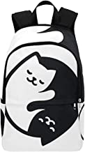HUAPIN Yin Yang Cats Simple Cute Black Casual Daypack Travel Bag College School Backpack for Mens and Women