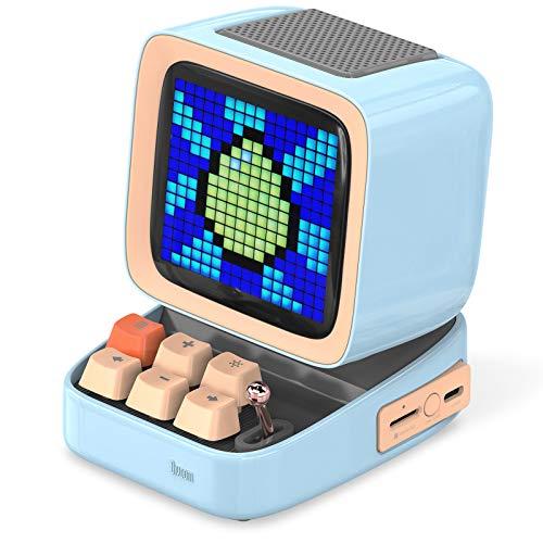 Divoom Ditoo Multifunctional Pixel Art LED Bluetooth Lautsprecher, 256 Programmierbares LED Panel mit Party Licht, Smart Digital Tischuhr, Gaming Musikbox unterstützt TF Karte & Radio (Blau)