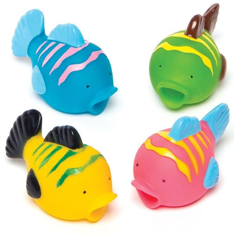 カラフルな熱帯魚の水鉄砲(4個入り) お風呂で遊べます パーティ景品、ディスプレイにも