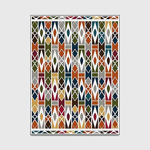 Jkckha antideslizante Manta de área de Soft Mat cubierta de la alfombra de la moda Color Multicolor Geometría pequeño diamante del enrejado del dormitorio sala de estar de noche Felpudo Alfombra de pi