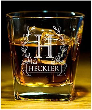 Custom Whiskey Monogram Wreathe Bourbon Rock Glasses Engraved Scotch Glass for Dad Birthday product image