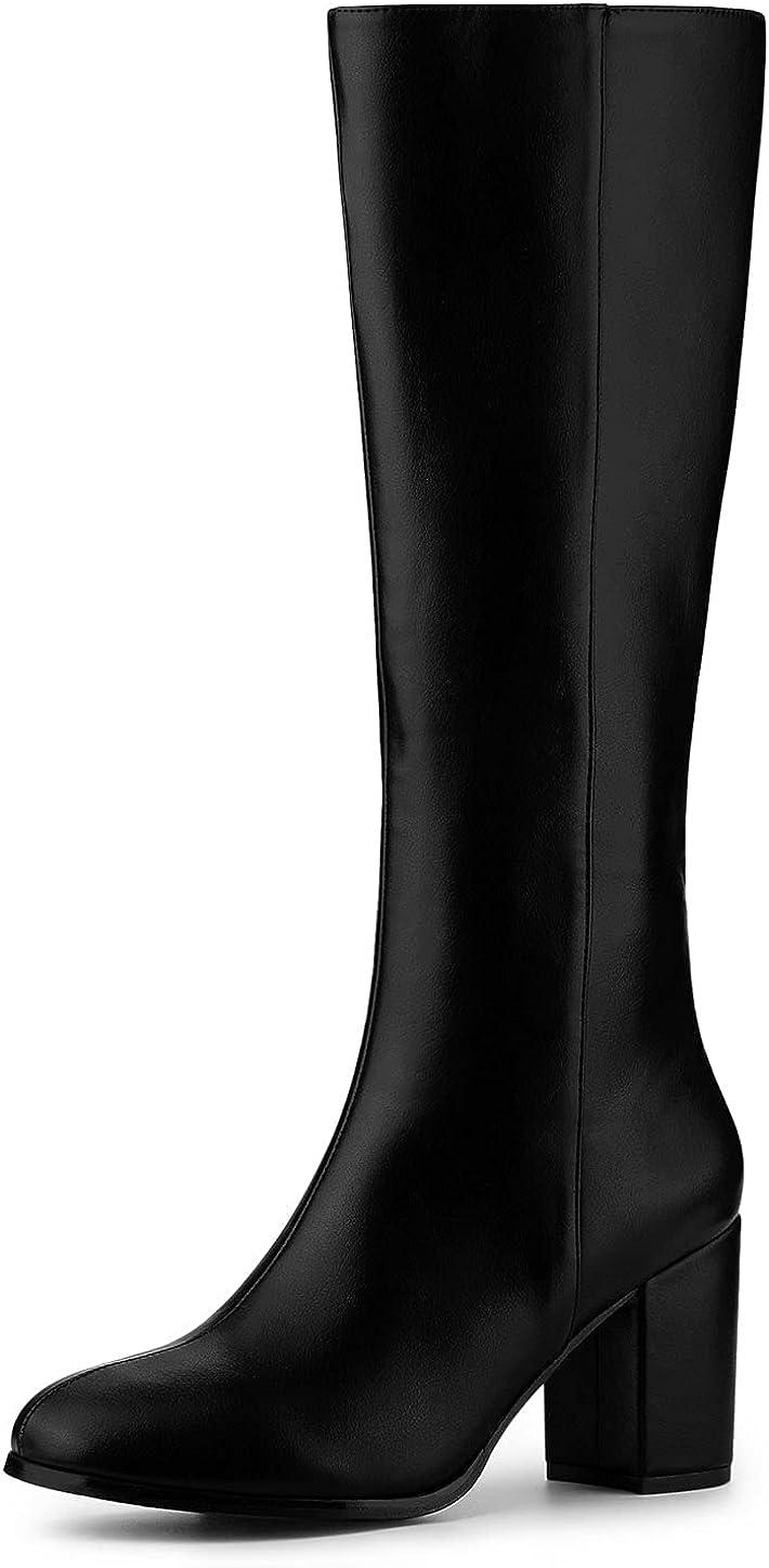 Allegra K Women's Round Toe Zip Chunky Heels Knee High Boots