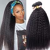 BLISSHAIR Yaki italiano cabello 3 cabello humano rizado tejer para mujeres negras, sin procesar extensiones de cabello virgen pelo natural con pelo de bebé 10' 10' 10' (25.4cm)