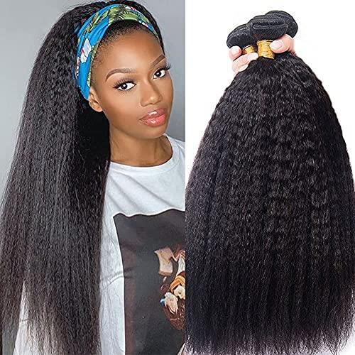 BLISSHAIR Yaki Kinky Straight Wig italiano cabello 3 cabello humano rizado tejer para mujeres negras, sin procesar extensiones de cabello virgen pelo natural con pelo de bebé 14' 14' 14' (35.56cm)