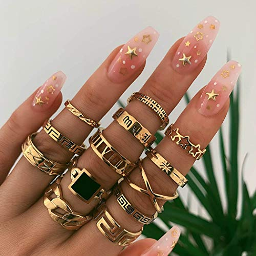Victray Boho Gold Ring Set Joint Knuckle Carved Finger Rings Stylish Hand Accessories Jewelry for Women and Girls (13PCS)