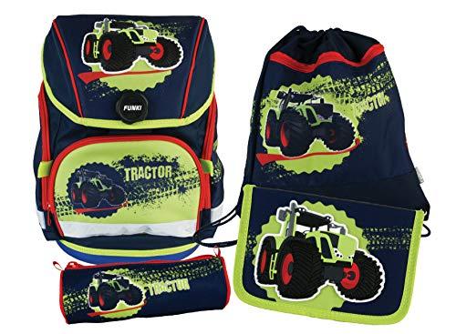 Schulrucksack Set, 4-teilig von FUNKI, Grundschul-Starter-Set für Jungen und Mädchen, Komplett-Set aus Schultasche, Etui, Rundbeutel und Turnbeutel mit Traktormotiv, Polyester, FUNKI Joy-Bag Tractor