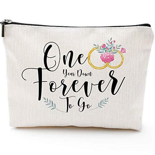 Regalos de San Valentín Galentines Día para Her-One Year Down Forever to Go--Bolsa de cosméticos regalos, bolsa de maquillaje, regalo de 1 año para esposa