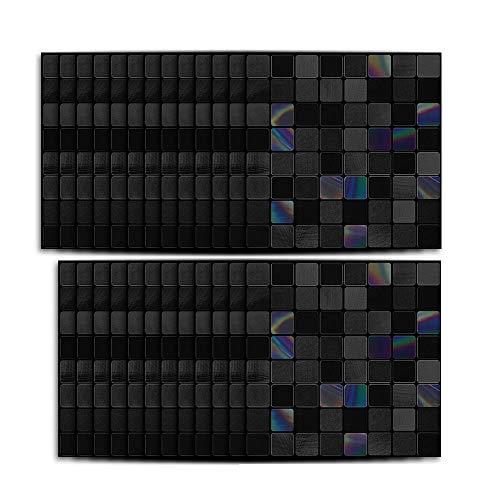 Hiseng 25 Piezas Mármol Adhesivos Decorativos Azulejos Pegatinas para Baldosas del Baño/Cocina Estilo Mosaico Negro - Clásico Resistente al Agua Pegatina de Pared (Negro,15x15cm)