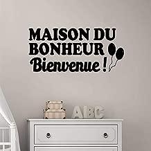 Wall Stickers Art Decor Decals French Bienvenue, Maison De Bonheur Pour Salon Welcome, House of Happiness for Living Room