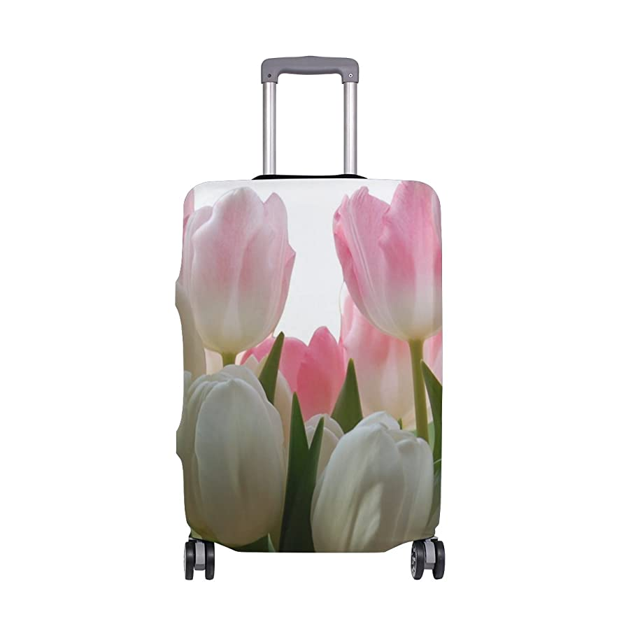 Pink Tulip Luggage Cover Elastic Suitcase Protector Fits 18-32 Inch