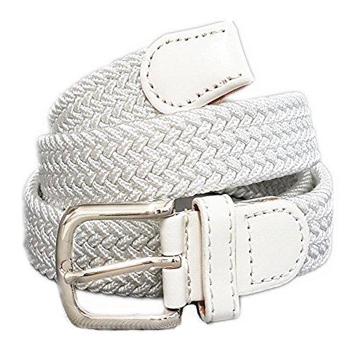 Unisex Flechtgürtel elastisch Damen Herren Gürtel geflochten Stretch ES (Weiß)