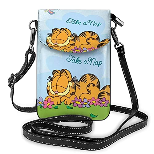 XCNGG Monedero pequeño para teléfono celular Women's Small Crossbody Bag with Shoulder Strap,Garfield and The Butterfly Small Cell Phone Purse Wallet with Credit Card Slots