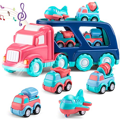 Transport Car Carrier Truck Set with Light and Sound, 5 in 1 Pink Friction Powered Double Deck Container Truck Cartoon Pull Back Vehicle Construction Car, Gift Toy for Girl Toddler Kid 1 2 3 Year Old