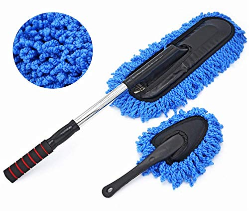 Bargain Crusader Removable Telescopic Car Wax Drag Nano Fiber Car Wash Brush Car Dusting Tool Car Mop Wax Dash Duster Exterior Interior Cleaning Kit (Premium Car Duster & Dash Duster 2 Pcs Set, Blue)