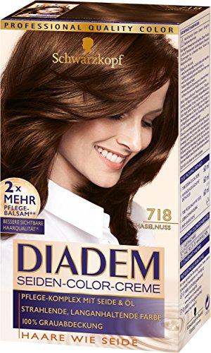 Schwarzkopf Diadem Seiden-Color-Creme, 718 Haselnuss Stufe 3, 3er Pack (3 x 180 ml)