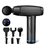 Massage Gun Deep Tissue, Muscle Percussion Back Neck Head Handheld Hammer Massager for for Athletes, Pain Relief, 30 Speed Level, LED Touch Screen, Long Battery Life with 6 Heads