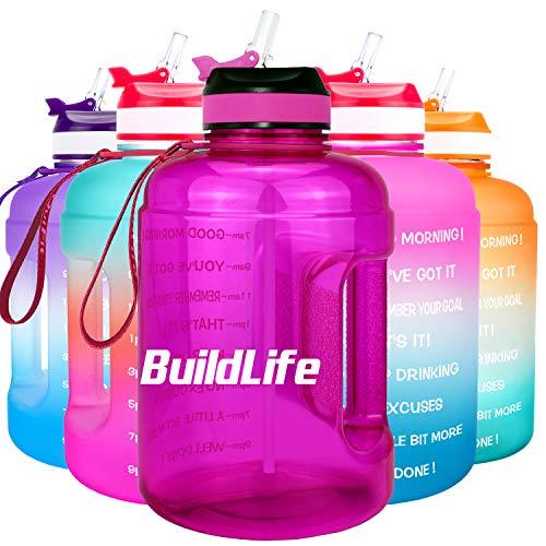 BuildLife Botella de agua motivadora de 2,2 l, con pajita y marcador de tiempo para beber diariamente, sin BPA, reutilizable, para gimnasio, deportes, al aire libre, color morado (2,2 L)
