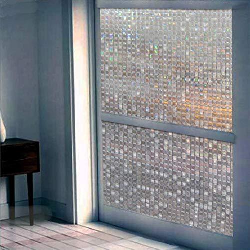 LMKJ Statischer Aufsatz des Mini-Mosaikdesign-Glasaufklebers in der Sonne Regenbogeneffekt 3D-Laser-Home-Office-Glasfilm A8 50x100cm