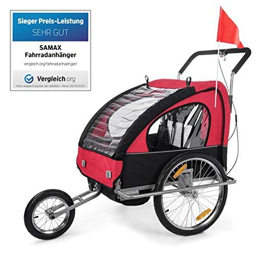 SAMAX Remorque Vélo convertible Jogger 2en1 en Rouge/Noir - Silver Frame