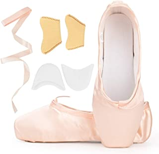 Satin Ballet Pointe Shoes Dance Shoe with Ribbon and Toe Pads for Girls Women