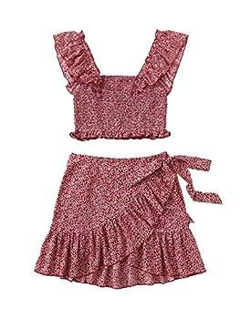 MakeMeChic Women s Floral Print Ruffle Trim Cami Crop Top and Wrap Skirt 2 Piece Set Burgundy-2 L